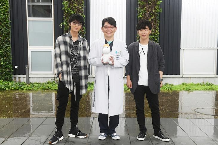 「金曜ドラマ『MIU404』」に出演する(左から)綾野剛、ずん飯尾、星野源。(c)TBS