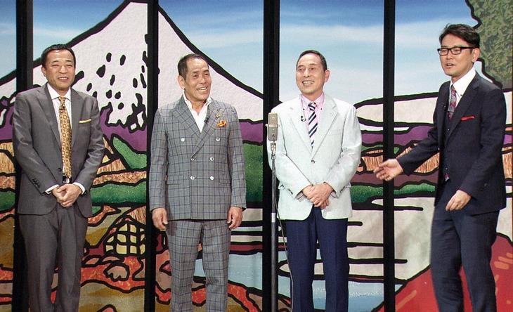 「お笑い演芸館+」に出演するザ・ぼんち(中央)とMCのナイツ。(c)BS朝日