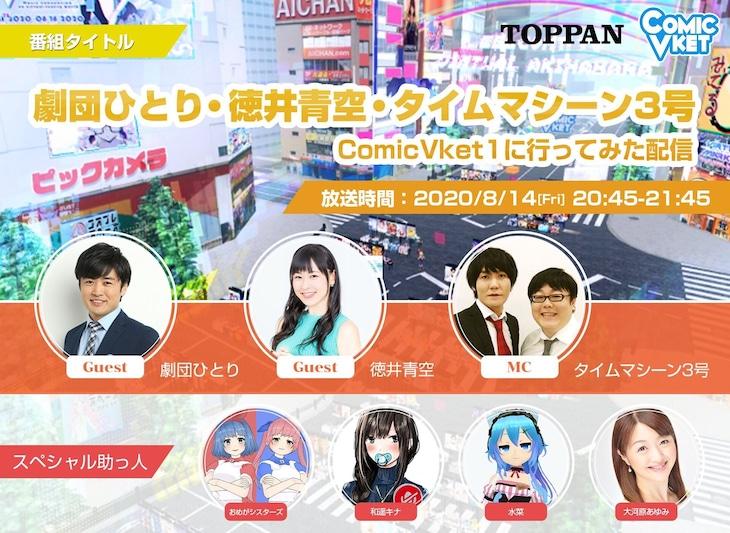 「劇団ひとり・徳井青空・タイムマシーン3号でComicVket1に行ってみた配信」メインビジュアル