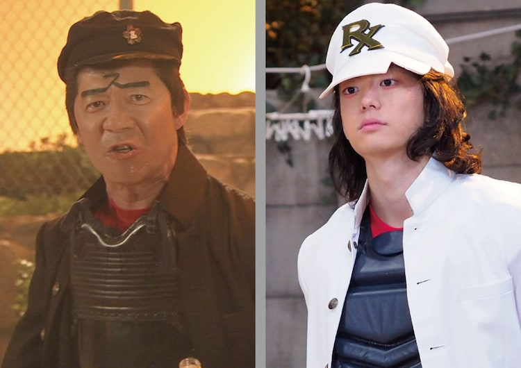 内村光良演じるスポーツ番長(左)、伊藤健太郎演じるスポーツ番長RX(右)。