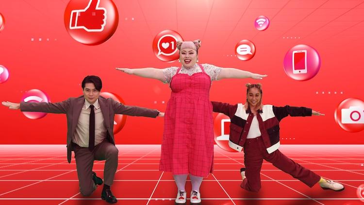 (左から)平成ノブシコブシ吉村、渡辺直美、青山テルマ。(c)テレビ朝日