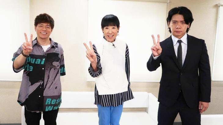 「R-1ぐらんぷり2020」優勝者特番に出演する(左から)陣内智則、和田アキ子、マヂカルラブリー野田クリスタル。(c)関西テレビ