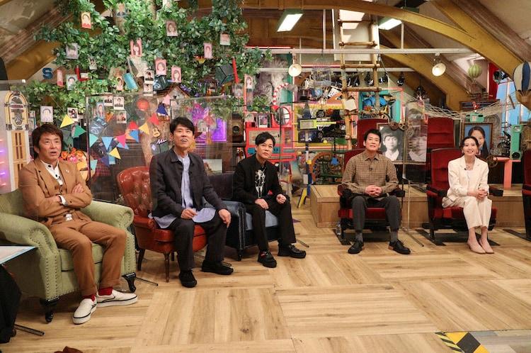 (左から)ネプチューン、唐沢寿明、河北麻友子。(c)テレビ朝日