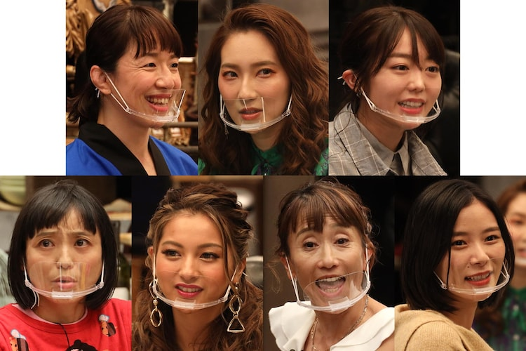 「女子メンタル」に挑む(上段左から)浜口京子、ファーストサマーウイカ、峯岸みなみ、(下段左から)金田朋子、ゆきぽよ、松野明美、朝日奈央。(c)フジテレビ