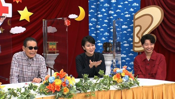 左からタモリ、松たか子、星野源。 (c)テレビ朝日