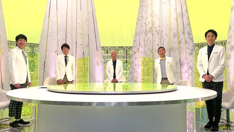 スタジオの(左から)麒麟・川島、千原ジュニア、バイきんぐ小峠、ハライチ澤部、かまいたち濱家。(c)フジテレビ