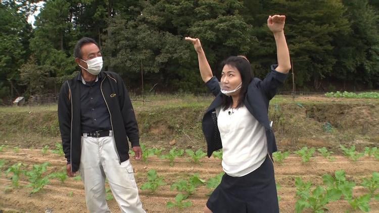 聖護院かぶら畑農家で潜入取材する島田珠代(右)。