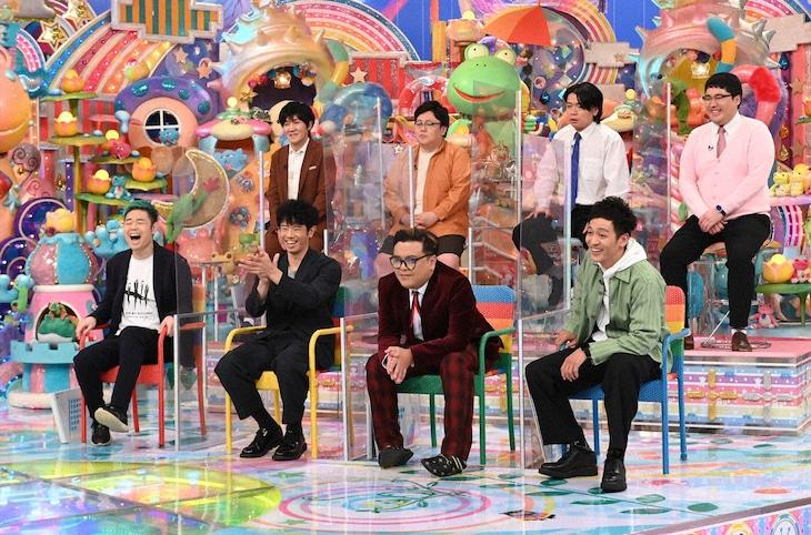 「アメトーーク!」の「もっとやれるはずだったのに…2020反省会」に出演する(前列左から)品川庄司、とろサーモン、(後列左から)タイムマシーン3号、マヂカルラブリー。(c)テレビ朝日