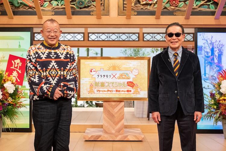 笑福亭鶴瓶(左)とタモリ(右)。(c)NHK