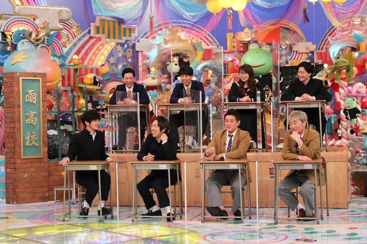 「アメトーーク!」の「コンビ芸人ホームルーム」に出演する、(前列左から)キングコング、スピードワゴン、(後列左から)ニューヨーク、相席スタート。(c)テレビ朝日