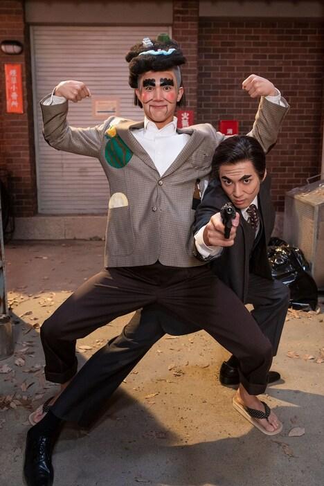中川大志と山田裕貴の2人はキャラクターコント「肥後もっこすん」に挑戦。