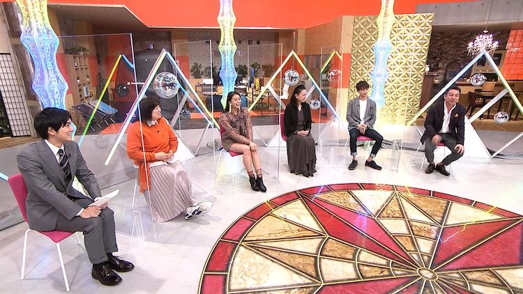 左から田修佑アナウンサー、森三中・黒沢、和田彩花、国生さゆり、草川拓弥、我が家・坪倉。