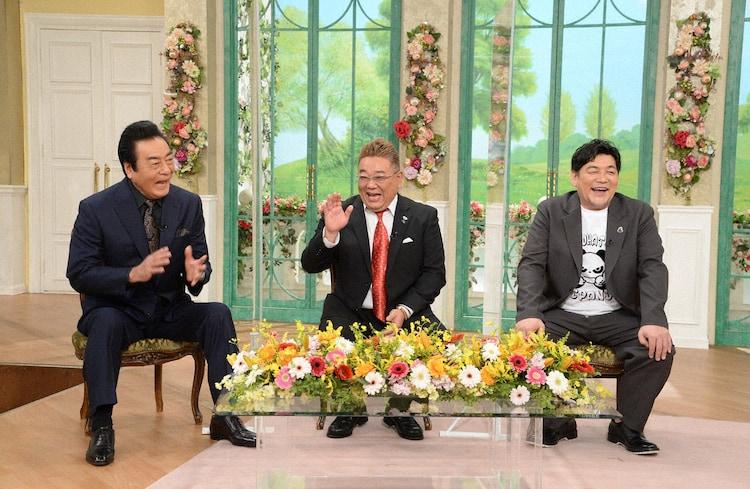 「徹子の部屋」にゲスト出演する(左から)高橋英樹、サンドウィッチマン。(c)テレビ朝日