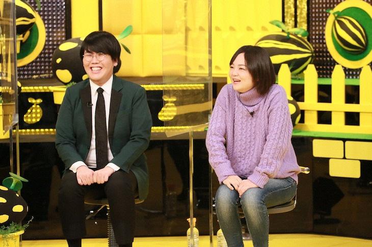 「爆笑問題&霜降り明星のシンパイ賞!!」に出演する蛙亭。左から、中野、岩倉。(c)テレビ朝日