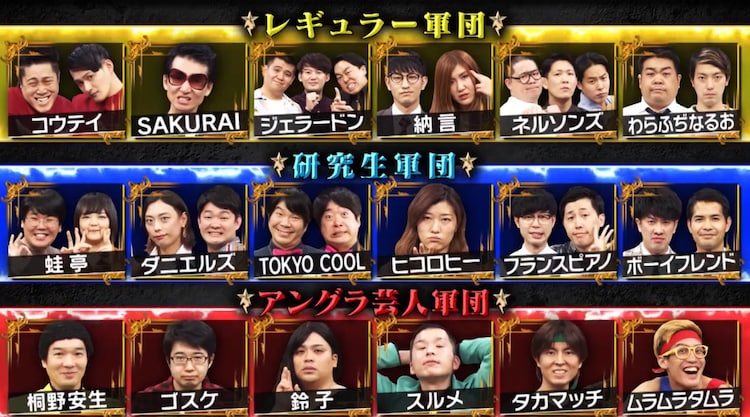 「有田ジェネレーション」で展開される「第1回軍団対抗『有ジェネカップ』」出演芸人たち。(c)TBS