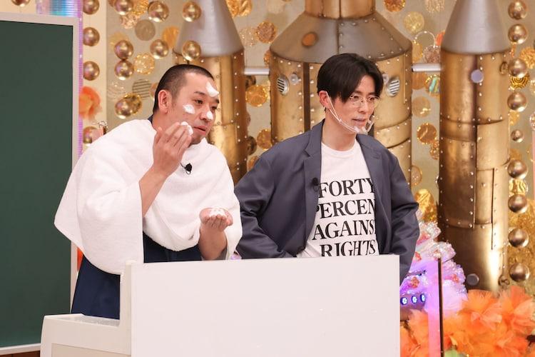 「華丸大吉&千鳥のテッパンいただきます!」に出演する(左から)千鳥・大悟、オリエンタルラジオ藤森。(c)関西テレビ