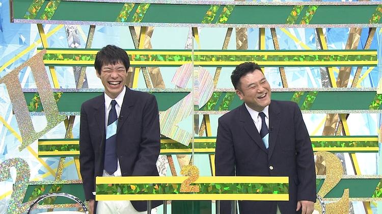 MCの麒麟・川島とアンタッチャブル山崎。(c)フジテレビ
