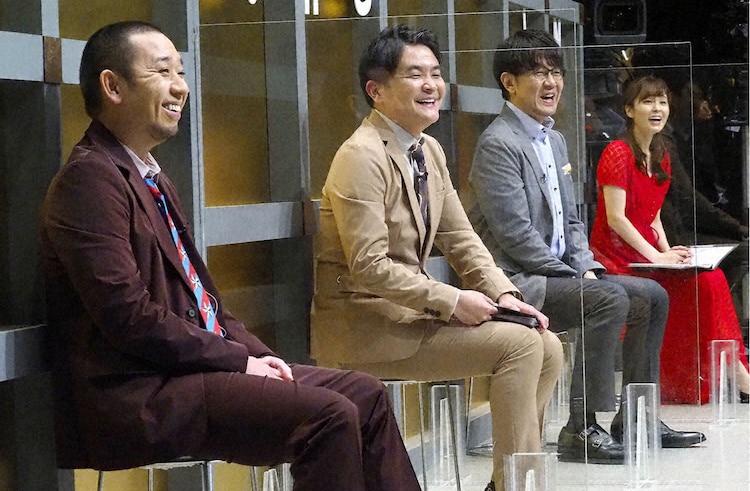 左から千鳥、土田晃之、角谷暁子アナウンサー。