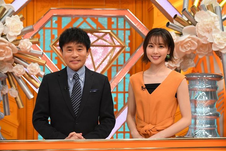 「芸能界常識チェック!~トリニクって何の肉!?~」MCの浜田雅功とアシスタントのヒロド歩美アナ。(c)ABCテレビ