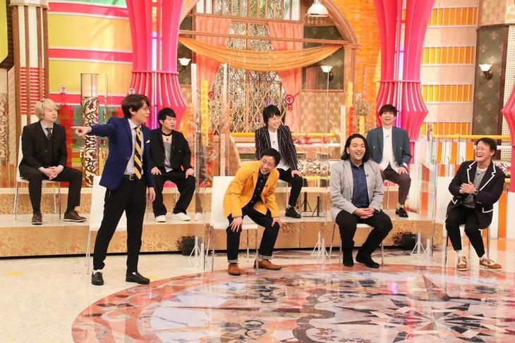 「ホンマでっか!?TV」SPに出演する(左から)三四郎、さらば青春の光、見取り図、アインシュタイン。(c)フジテレビ