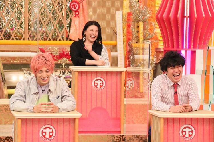 (左から)EXIT兼近、島崎和歌子、流れ星☆ちゅうえい。(c)フジテレビ