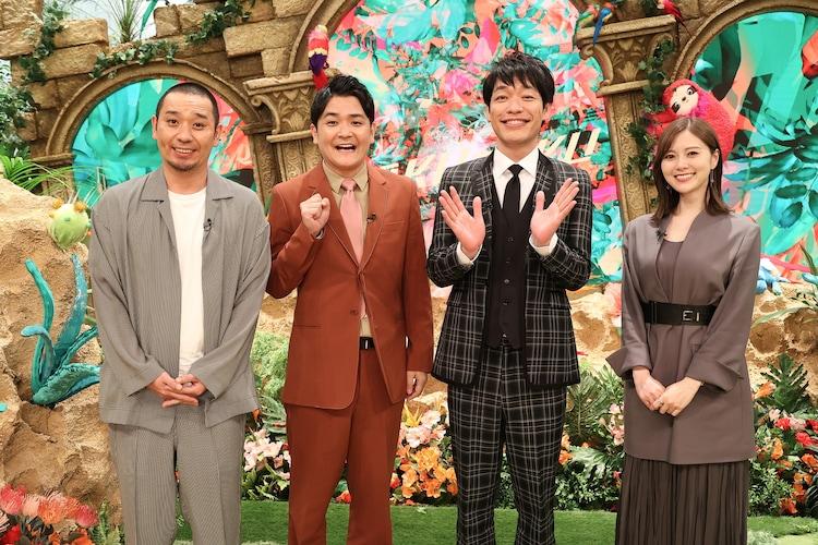 「お笑いオムニバスGP」に出演する(左から)千鳥、麒麟・川島、白石麻衣。(c)フジテレビ
