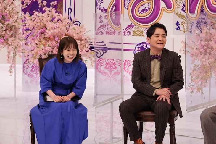 「ノブナカなんなん?」に出演する(左から)弘中綾香アナ、千鳥ノブ。(c)テレビ朝日