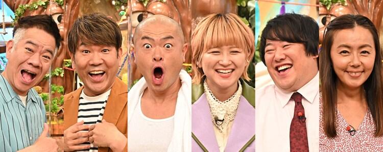 (左から)FUJIWARA、あばれる君、ラランド、田中律子。(c)TBS