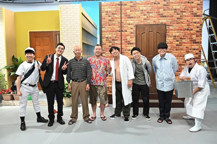 「壁」に出演する(左から)ハナコ秋山、ハナコ菊田、バイきんぐ、バナナマン日村、ライス、ロッチ中岡。(c)TBS