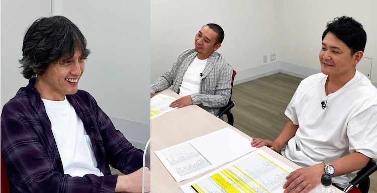 「Pラジオ」に出演する加地倫三プロデューサー(左)と千鳥。(c)テレビ朝日