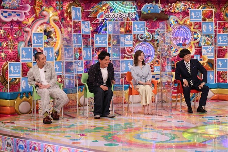 (左から)千鳥、白石麻衣、蛍原徹。(c)テレビ朝日