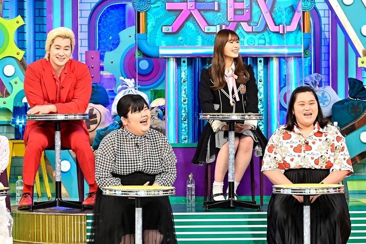 (前列左から)ぼる塾あんり、ぼる塾・田辺、(後列左から)メイプル超合金カズレーザー、渋谷凪咲。(c)TBS
