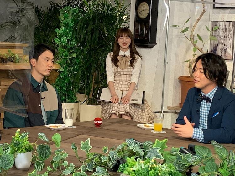(左から)かまいたち濱家、加藤史帆、ぺこぱシュウペイ。(c)ABCテレビ