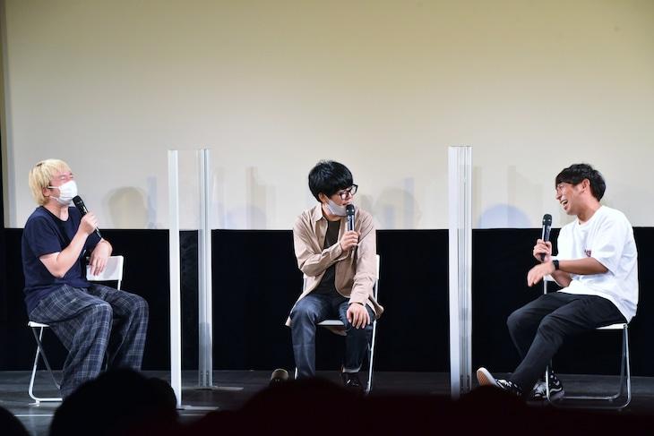 イベント「ラジオリスナーフェス2021」のトリでトークを繰り広げた(左から)三四郎・相田、うしろシティ阿諏訪、アルコ&ピース酒井。