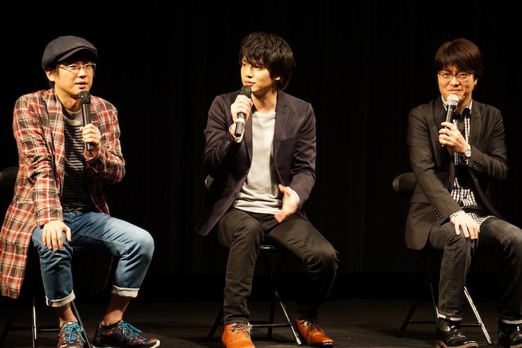 左から山崎樹範、山本匠馬、座間隆司プロデューサー。