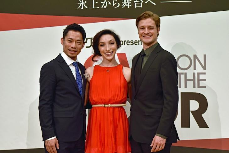 「LOVE ON THE FLOOR」記者会見より。左から高橋大輔、メリル・ディヴィス、チャーリー・ホワイト。