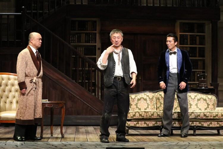 ミュージカル「マイ・フェア・レディ」ゲネプロの様子。左から、田山涼成演じるピッカリング大佐、松尾貴史演じるドゥーリトル、寺脇康文演じるヒギンズ。