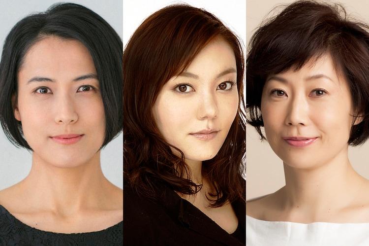 「マリアの首 -幻に長崎を想う曲-」の出演者。左から伊勢佳世、鈴木杏、峯村リエ。