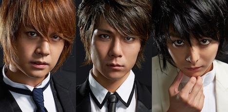 「デスノート THE CONCERT」出演者。左から、夜神月に扮する浦井健治、柿澤勇人。Lに扮する小池徹平。