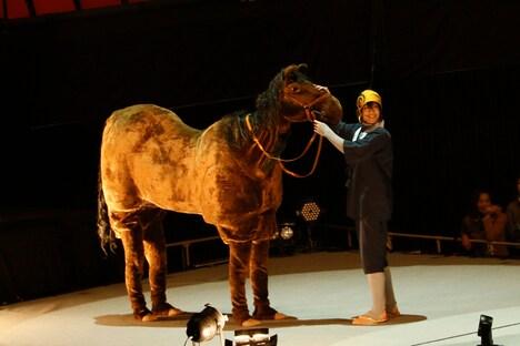 黒羽麻璃央演じる三日月宗近と馬。 撮影:岸隆子(Studio Elenish)、安田新之助