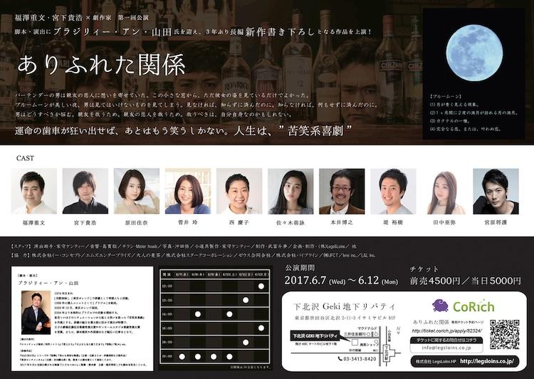 「福澤重文・宮下貴浩×劇作家 第1回公演『ありふれた関係』」チラシ裏