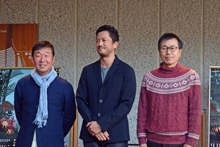 「赤道の下のマクベス」トークイベントより、左から鄭義信、池内博之、平田満。