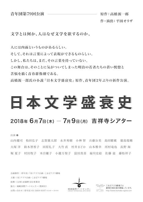 青年団 第79回公演「日本文学盛衰史」仮チラシ