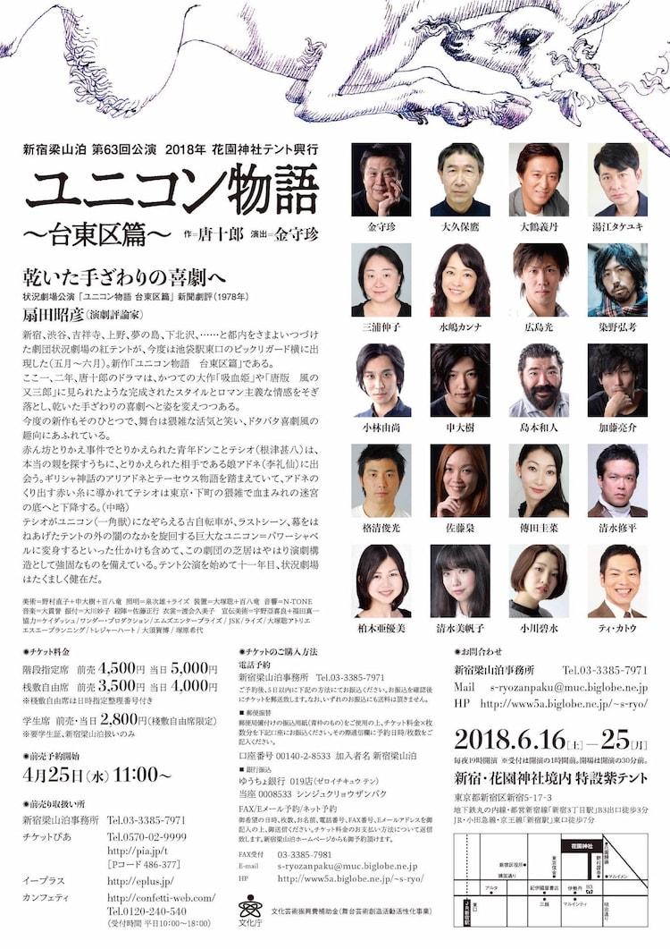 新宿梁山泊 第63回公演「ユニコン物語 台東区篇」チラシ裏