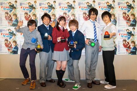 左から大歳倫弘、諏訪雅、鈴木絢音(乃木坂46)、西井幸人、小澤亮太、中村嘉惟人。