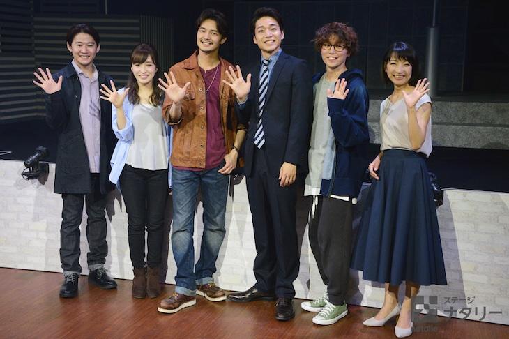 「オリジナル・ミュージカル『DAY ZERO』」囲み取材より。左から西川大貴、梅田彩佳、上口耕平、福田悠太(ふぉ~ゆ~)、内藤大希、谷口あかり。