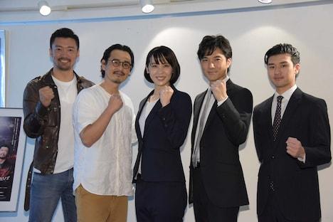 「希望のホシ2018」初日前囲み取材より、左から金児憲史、野村宏伸、緒月遠麻、池田努、岩永ジョーイ。