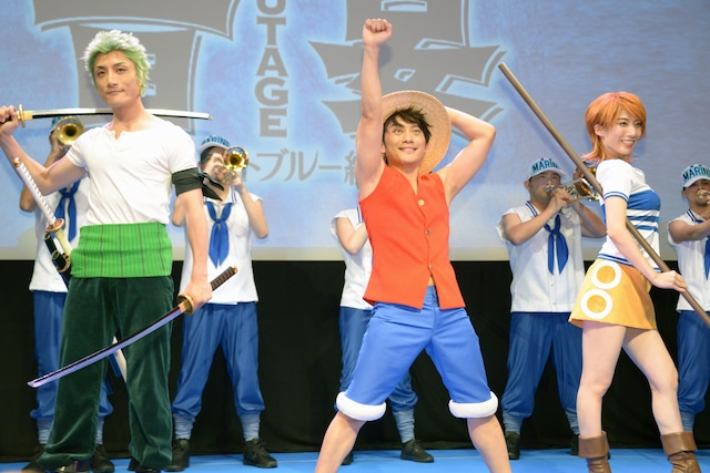 左から福地教光演じるゾロ、松浦司演じるルフィ、大北岬演じるナミ。