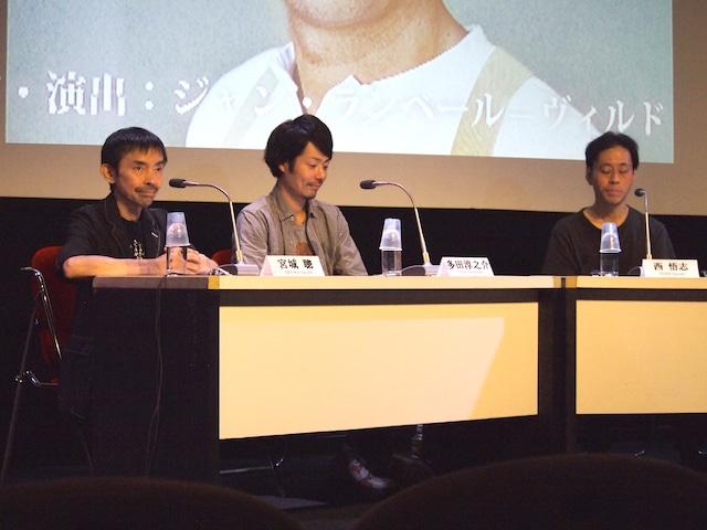 「SPAC秋→春のシーズン 2018-2019」の製作発表会より。左から宮城聰、多田淳之介、西悟志。
