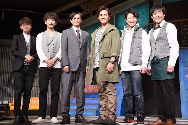 project K「僕らの未来」囲み取材より、左からほさかよう、吉高志音、河合龍之介、加藤和樹、鎌苅健太、なだぎ武。